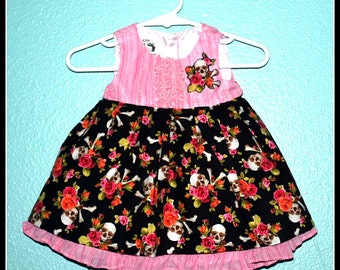 Girls Rockabilly Pink Dress in Skulls & Bones and Flowers  ........Size 3-6 months