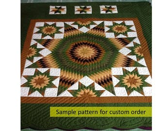 Twelve star quilt, Free shipping, Amish quilt, Hand Made Quilt, On Sale, Quilted Bedspread, Patchwork, Hand stitched,Home made quilts, green