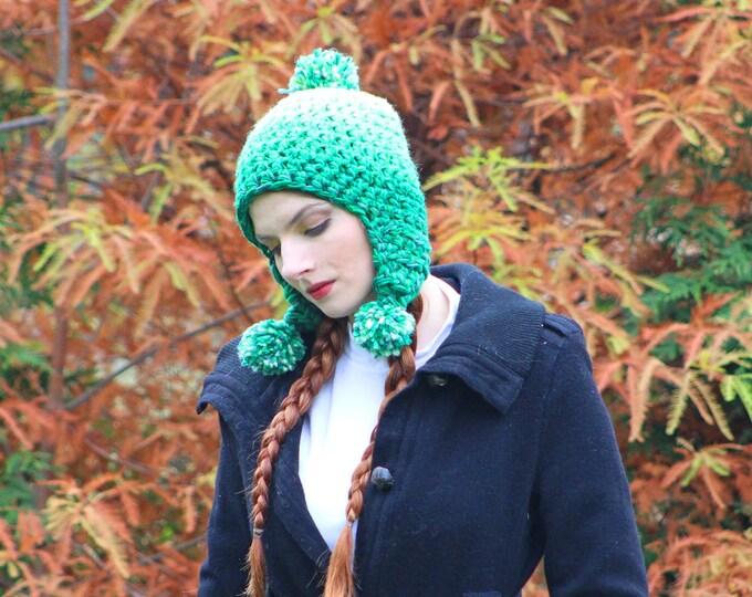 Green OmbrePixie Elven Earflap Hat Pom Pom Beanie Hat Crochet Handmade Gift for Him or Her