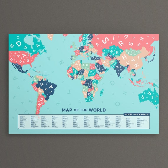 Guess the country world map large map of the world poster like this item gumiabroncs Gallery