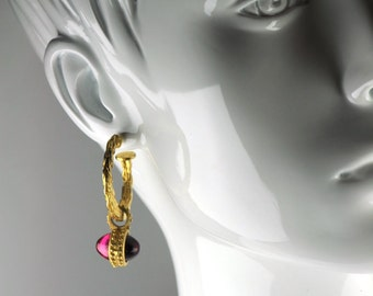 Pink and Purple Glass Gold Hoop Earrings