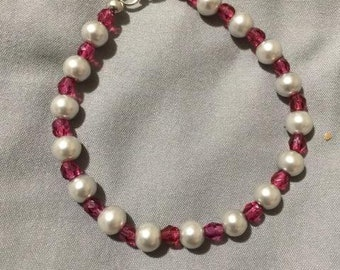 Light Pink Round Pearl and Fuchsia Fire Polished Crystal Bracelet