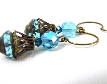 Bright blue green Sparkle Saucer Earrings