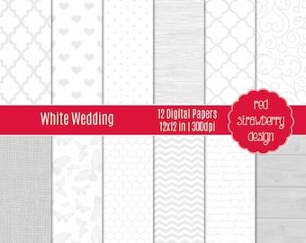 75% OFF Sale - White Wedding - 12 Digital Papers - Instant Download - JPG 12x12 (DP272)