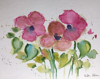 Original watercolor painting flowers flowers Watercolor