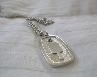 NEW Sterling Silver Paddle and Ball Dog Tag (pb-dt1s)