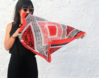 Vintage 1960s Silk Scarf with Mexican Aztec Motifs