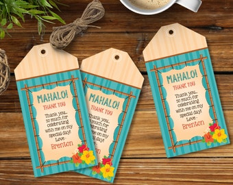Luau Favor Tag - Hawaiian Party Thank You Tag, Gift Tag, Yellow/Orange, Self-Editing | DIY Editable Text INSTANT DOWNLOAD Printable