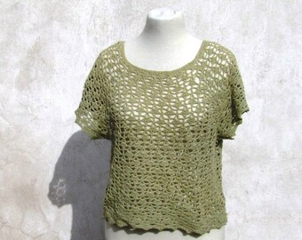 Woven T-shirt, cotton-wool, crochet, for summer