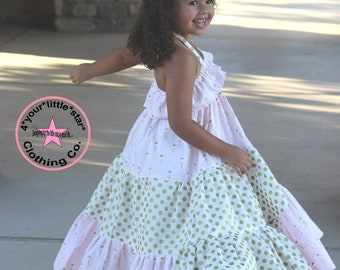 Summer Maxi Dress Release Tiered Polka Dot Pink and Gold Swan princess Maxi Dress Infant, Toddler, Girls sizes 0-3 mos to Girls Tween 16