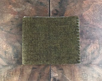 Moss Green Wool Bifold Wallet with Mint and Beige Striped Interior