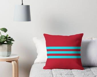 Aqua and Red Decor, Aqua Throw Pillow, Red and Aqua Cushion, Aqua Toss Pillow, Red Decor, Aqua and Red Pillow, Red and Aqua Pillow Cover
