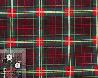"Vintage Christmas Plaid red green burgundy gold Joan Messmore 100% cotton 42""-44"" wide VIP print Cranston Print works"