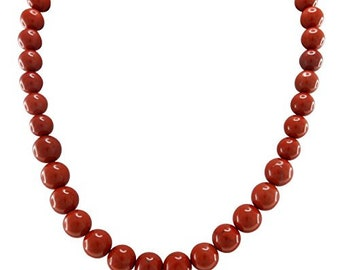 Red Jasper Beaded Strand Necklace with Sterling Silver Clasp