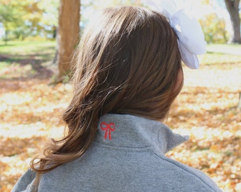 Childrens Youth Monogrammed Quarter Zip Pullover with Bow on Collar