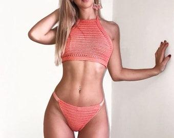 Peach Halterneck Bikini Set