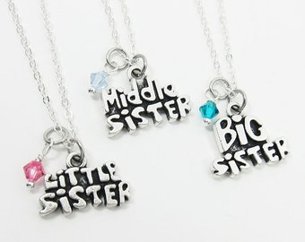 Big Sister, Middle Sister, Little Sister Necklace - Personalized Handstamped, Customized Swarovski birthstone