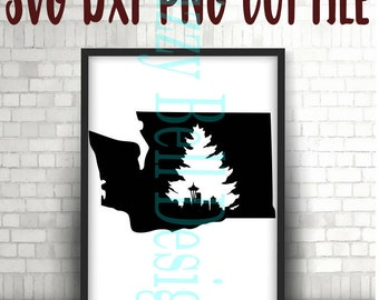 WASHINGTON State Seattle Skyline & Evergreen Tree, Digital Instant Download. SVG Cut Files WA State, Pacific Nw, Instant Download, PacNW