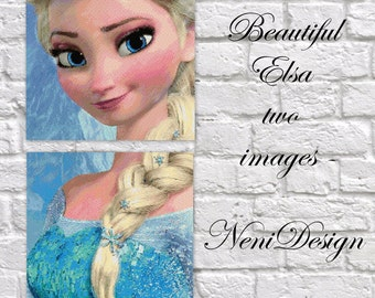 Beautiful Elsa two images, cross stitch pattern, Elsa cross stitch, Elsa pattern, frozen cross stitch - PDF pattern - instant download!