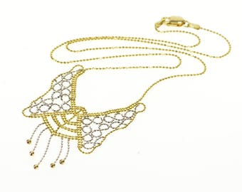 """10k 1.0mm Ball Bearing Link Butterfly Two Tone Necklace Gold 17.25"""""""