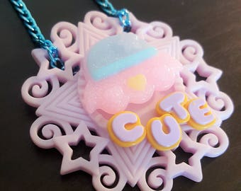Pastel goth UFO necklace, pink necklace, fairy kei necklace, cameo necklace, alien necklace, kawaii necklace, sparkly necklace, sci-fi