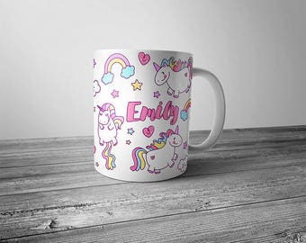 Personalized Unicorn Mug - Magical Fat Unicorn Rainbow with Name Coffee Cup Latte Mug Great Gift For Her