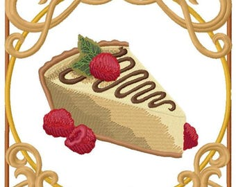 Chocolate Nouveau Cheesecake Embroidered on Hand Towel or Tea Towel