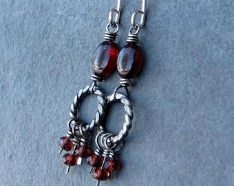 Garnet Earrings Gemstone Jewelry Sterling Silver Earrings Eco Friendly Jewelry Valentine's Gift