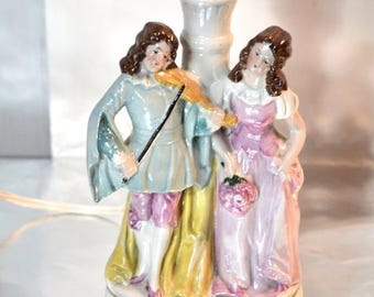 Petite Porcelain Lamp Figurine Lamp French Cottage Chic Boudoir Lamp
