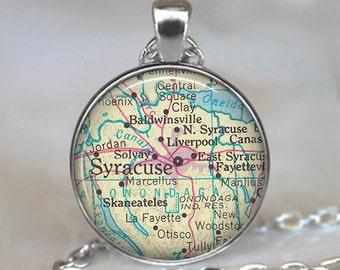 Syracuse map pendant, Syracuse map necklace map jewelry Syracuse New York pendant map jewellery map key chain key ring key fob