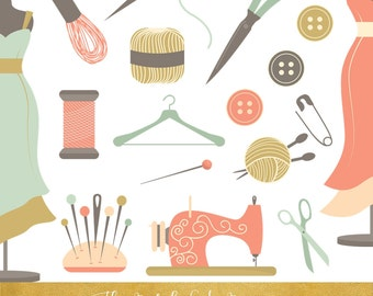 Sewing & Crafts Clipart Set - INSTANT DOWNLOAD - 46 .PNG Files