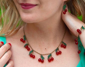 Cherry Red necklace / red cherries bronze metal brass - kawaii style / rockabilly / pinup - gift for a gourmet