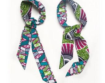 headband / scarf / belt * reversible * green wax & fuchsia