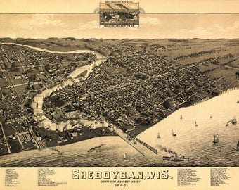 Sheboygan, Wisconsin - (1885) - Panoramic Map (Art Print - Multiple Sizes Available)