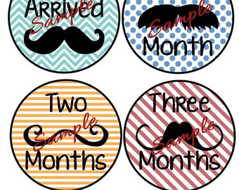 Monthly Baby Onesie Printouts, Mustache Iron-ons DIY, Months 1-12 PLUS Just Arrived