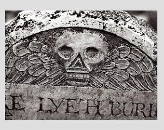 Black and White Headstone Postcard, cemetery art, art postcard, photo postcard, gothic