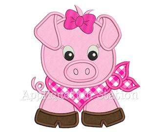 Bandana Baby Girl Pig Applique Machine Embroidery Design Farm Animal Cute INSTANT DOWNLOAD