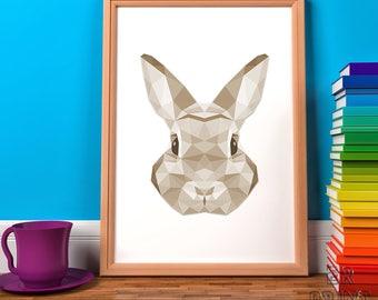 Rabbit Print, Geometric Print, Sepia Print, Triangle Print, Sepia Rabbit, Home Wall Decor, Rabbit Art, Polygonal Animal, Girls Print