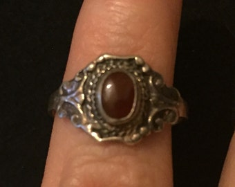 Vintage Ornate Silver Ring, Red Enamel Dress Ring, Victorian Revival