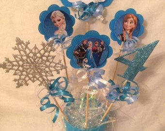 Personalised Frozen Centrepiece, Frozen Party Decor, Frozen Picks, Frozen Table decor, Frozen Birthday, Frozen Decor, Snowflake Centrepiece