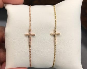Diamond Sideways Cross Cross Bracelet