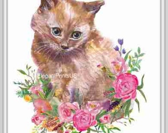 Animal Nursery, Cat Poster, Cat Print, Kitten with Flowers, Watercolor Cat, Peony Bouquet, Instant Download, Printable Art