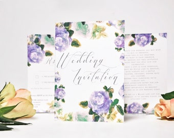 Hand Painted Wedding Invitation Set Romantic Lilac Roses. Watercolour Painted Lilac Roses. Wedding Invite Card. RSVP. Info Card