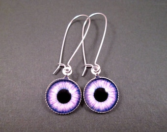 Eye See You, Eyeball Earrings, Purple and Black, Silver Dangle Earrings, FREE Shipping U.S.