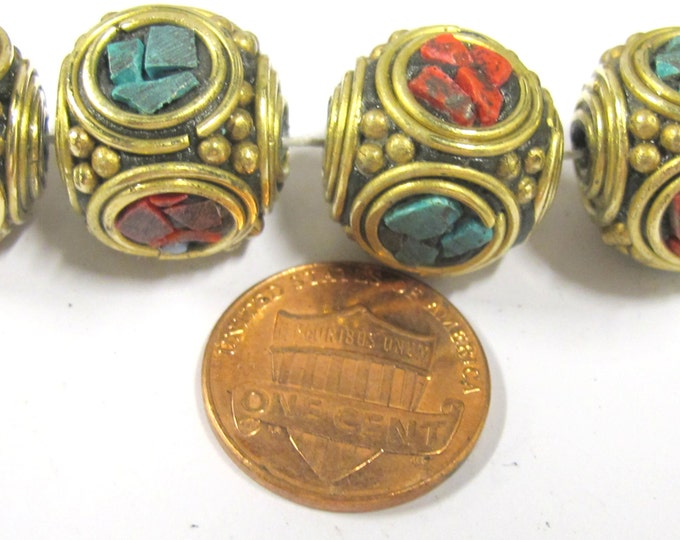 2 beads -  Large 15 -16 mm ethnic Tibetan nepal brass beads with turquoise coral inlay - BD801s