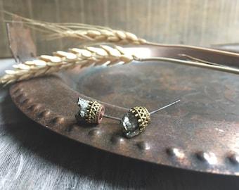 Pyrite stone stud earrings, Mineral earrings, Stone earrings, Stud earrings, Fools gold earrings, Pyrite jewelry, Druzy earrings