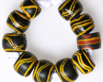 10 Antique Venetian Trade Beads in Good Condition - Vintage African Trade Beads - #7958