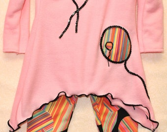 Striped Balloon Long Sleeved Tunic and Leggings, Sizes 2T through 5T, Made to Order