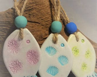 Handmade Hanging Clay Art Stamped Fish Tag, with Wooden Bead - Coastal Beach Theme, Bathroom Decor, Nautical Decor, Wall hanging