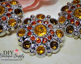 Big Large Rhinestone Buttons Autumn Fall Crystal buttons Orange Gold Brown Plastic Buttons Flower centers Bow centers 28mm 757040
